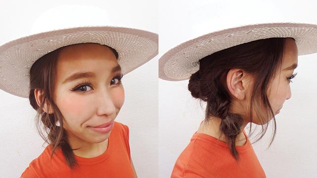 帽子をかぶっても崩れにくい!「くるりんぱ!でボヘミアン風まとめ髪アレンジ」